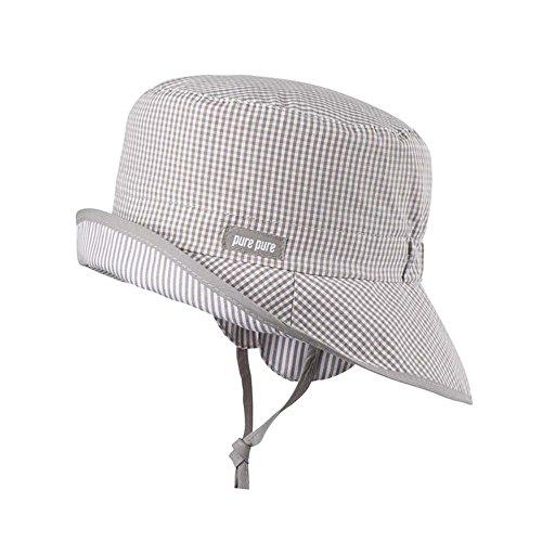 pure pure Baby und Kinder Sonnenhut/Fischerhut mit UV-Schutz aus Reiner Bio-Baumwolle, Moonrock, Gr. 47