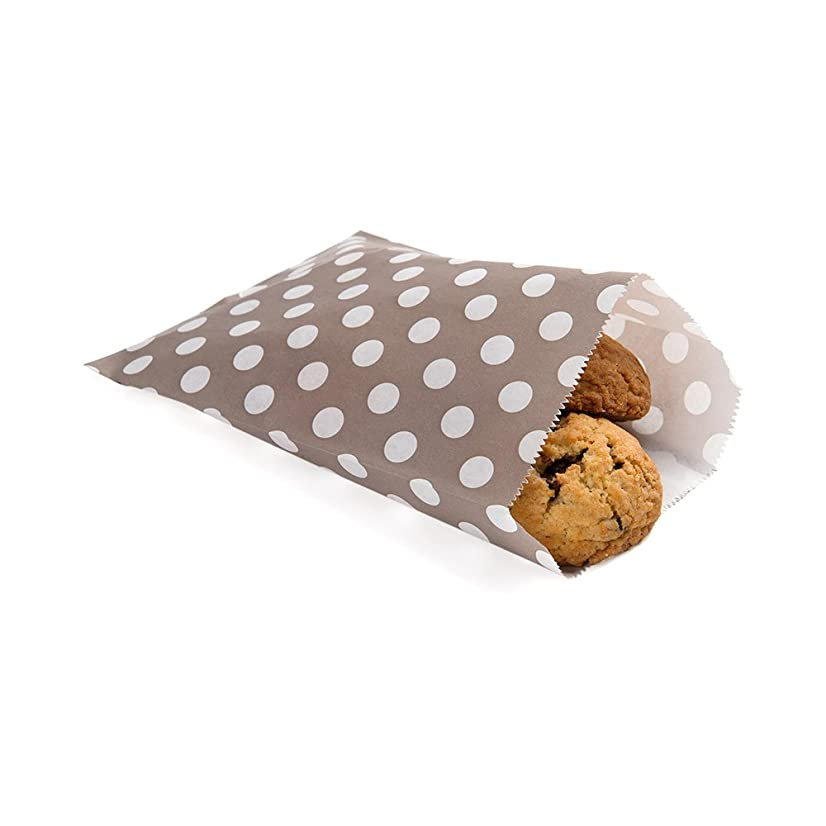 Disposable Paper Bags, Cookie Bags, Deli Bags, Bakery Bags - Grey with White Polka Dots - 7