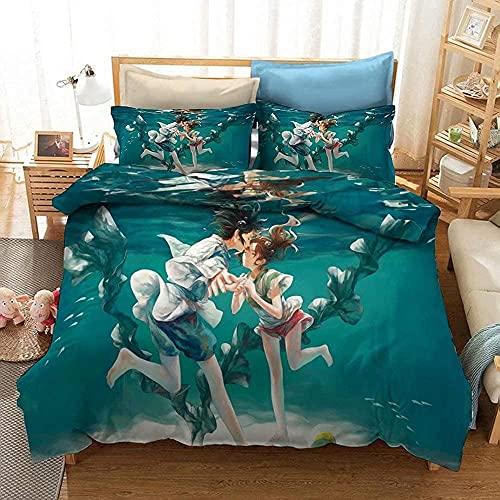 MYLZZ Spirited Away Juego de ropa de cama de microfibra, diseño de anime 3D, funda de edredón decorativa, juego de cama de 3 piezas (007,220 x 240 cm/80 x 80 cm)
