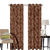 hengshu Coffee Blackout Curtains for Bedroom Cup of Espresso Silhouettes Thermal Insulated Soundproof Curtain W120 x L96 Inch