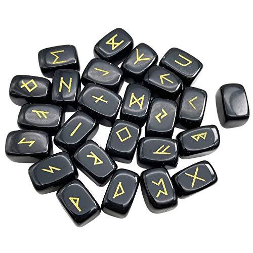 Fekuar Natural Black Obsidian Rune Stones Set, Engraved Elder futhark Viking Alphabet Runes Gemstone Chakra Balancing Reiki Healing Spiritual Metaphysical, 25Pcs