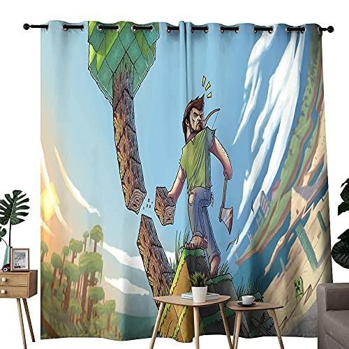 Cortina para decoración de habitación de balcón, Minecraft Steve corta el árbol, utilizada en la sala de estar para mejorar el dormitorio de la junta de 106 x 137 cm