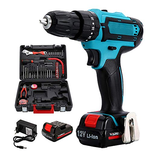 Cordless Drill, 12V Max Electric Screwdriver 2 Batteries 2 Speed Impact Drill Power Driver 3 in 1 Hand Drill Power Tool JIAJIAFUDR