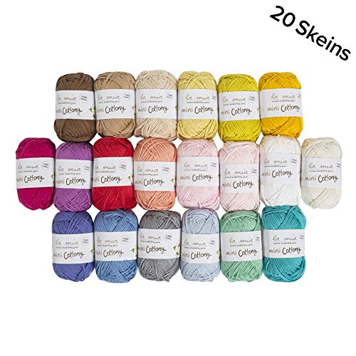 La Mia Mini Cottony 20 Skein 100% Cotton Mini Yarn, Total 17.6 Oz Each 0.88 Oz (25g) / 65 Yrds (60m), Light, Dk, Worsted Assorted Colors Yarn