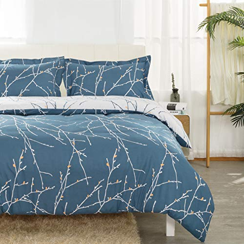 Bedsure Duvet Cover Set Double Size - Blue & Ivory Branch Pattern 3 pcs with Zipper Closure 200x200cm with 2 Pillow covers 50x75cm Ultra Soft Hypoallergenic Microfiber Quilt Cover Sets