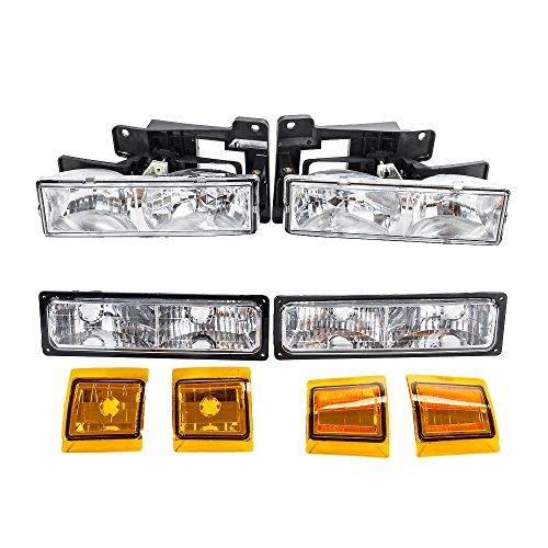 8Pcs Headlight Assembly Parking Light Corner Reflectors Lights Compatible with Chevrolet 1990 1991 1992 1993 C1500 & C2500 & C3500 & K1500 & K2500 & K3500 92-93 Blazer & C/K 1500 2500 Suburban Truck