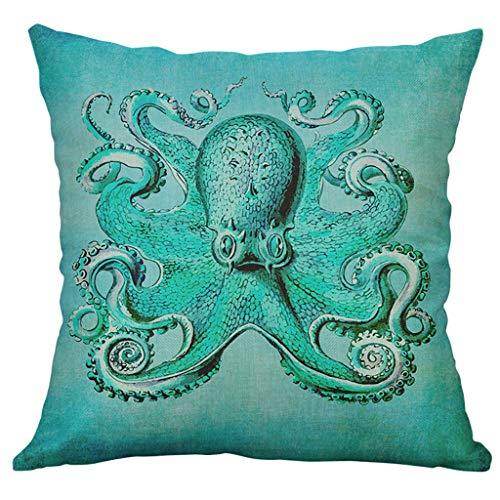 Funda de cojín HINK Marine Life Coral Sea Turtle Seahorse Whale Octopus