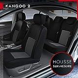 DBS - Housses de siège sur Mesure pour Kangoo 2 (01/2008 à 2021) | Housse Voiture/Auto d'intérieur | Haut de Gamme | Jeu Complet en Tissu | Montage Rapide
