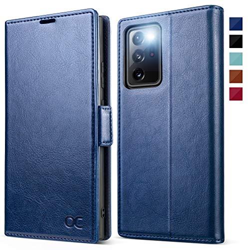 OCASE Handyhülle kompatibel für Samsung Galaxy Note 20 Ultra Hülle, [Premium PU Leder] [Standfunktion] [Kartenfach] [Magnetverschluss] Flip Hülle Schutzhülle für Galaxy Note20 Ultra 5G Tasche Blau
