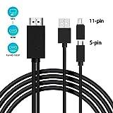 Adaptador micro USB a HDMI, Cable MHL a HDMI de 5 pines a 11 pines con...