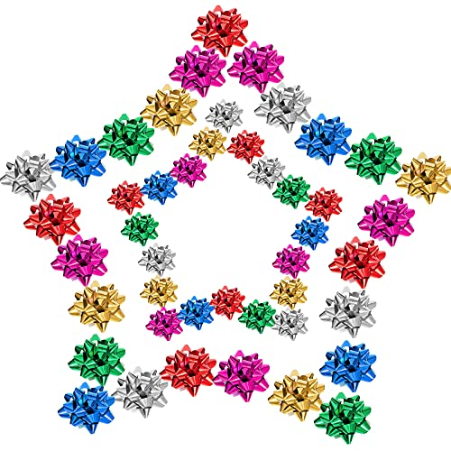 132 Pieces Mini Present Bow 1 Inch and 1.5 Inch Metallic Star Multi Color Bow Assortment Small Stick on Bows for Present Wrapping Christmas Hanukkah Birthday Wedding Baby Shower