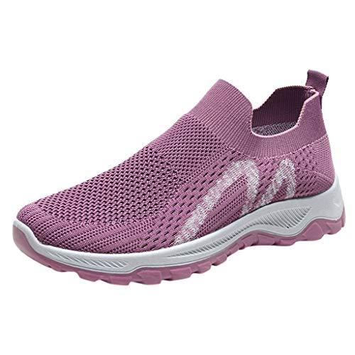 FNKDOR Slip on Scarpe da Ginnastica Donna Sneakers Senza Lacci Traspirante Leggere Scarpe Running Casual Fitness Scarpe Sportive Viola#1 40