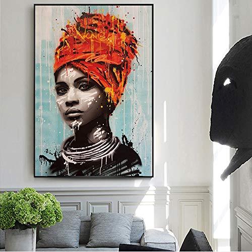 SADHAF Afrikaanse vrouwen olieverfschilderij canvas kunstdruk poster afdrukken muur kunst Residence decoratief schilderwerk 70x100cm (kein Rahmen) A6.