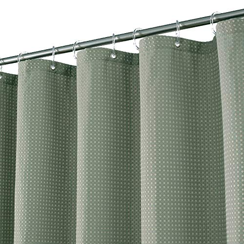 Waffle Weave Fabric Shower Curtain Heavyweight 230 GSM, Hotel Luxury, Machine Washable, Sage Green Pique Diamond Pattern, 71 x 72 inches Decorative Bathroom Curtains