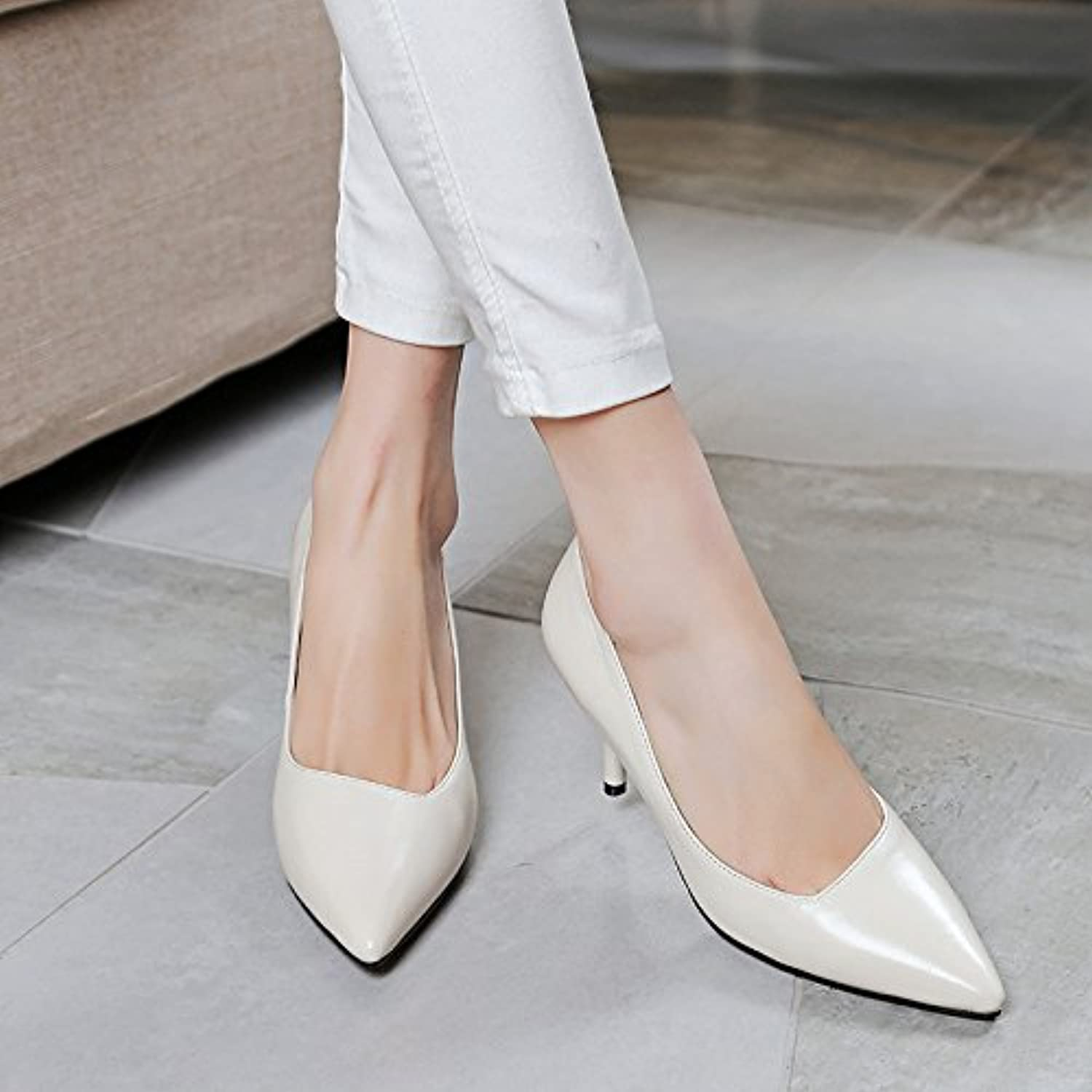 Shallow end of pointed leather shoes pure stiletto tendon, meters white, 35