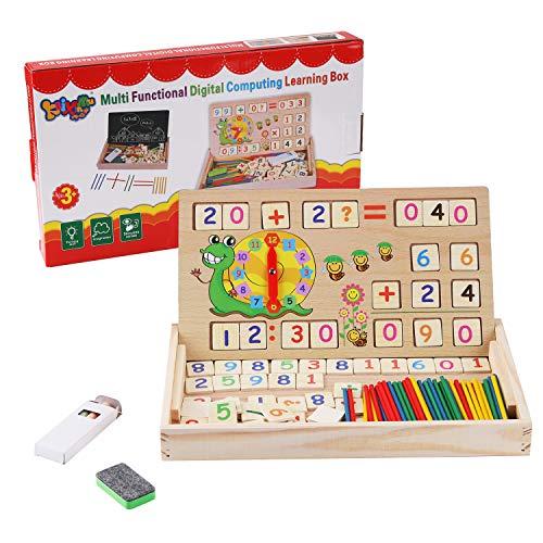 BBLIKE Juguetes de Madera Niños, Tablero Montessori Reloj Pintura Números Apilamiento Clasificación Matemática Aprendizaje de Juegos, Juguetes Educativos 3 4 5 años Niños (A)