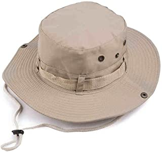 LPKH Sun Hat Travel Mountaineering Sun Protection UV Wide Eaves Beach Hat with Chin Band hat (Color : Khaki)