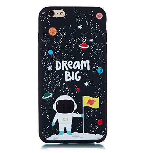 CUAgain Funda Compatible con iPhone 6s Plus/iPhone 6 Plus Silicona Dibujos Motivo Negro TPU Kawaii Ultrafina One Piece Carcasa Case Antigolpes Bumper Resistente Cover,Astronauta