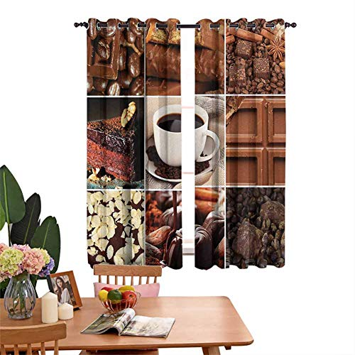 Mozenou Brown Decor Curtains by Coffee and Chocolate Tasty Collage Beans Mugs Snacks Pastries Espresso Cocoa Composition Best Home Fashion Wide Width Thermal Insulated Blackout Curtain Brown