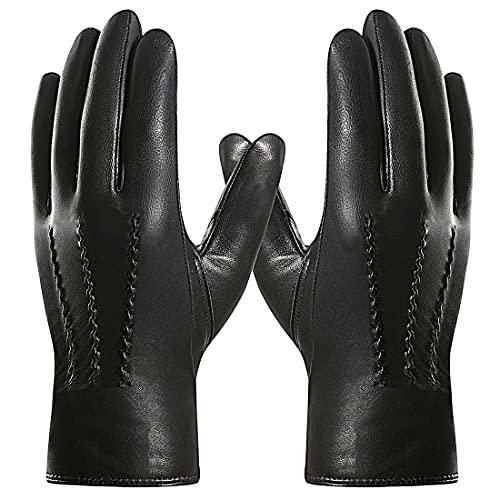 Harssidanzar Mens Goatskin Leather Gloves Fleece Lined, Black, M