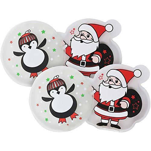 com-four® Calentador de Bolsillo 4X Papá + Pingüino, Calentador de Manos con Diferentes Motivos navideños (Papá Noel/Pingüino)
