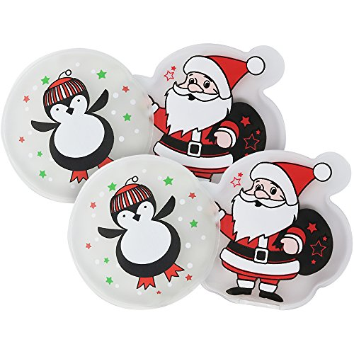 com-four® 4X Taschenwärmer Santa + Pinguin, Handwärmer in verschiedenen weihnachtlichen Motiven (04 Stück - Santa/Pinguin)
