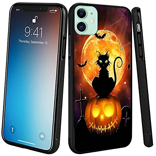 Phone Case Compatible with iPhone 11 Halloween Cat Black Frame Shockproof and Slim Rubber TPU Material with Uniqe Design