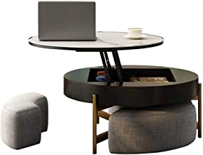 Round Coffee Table with Lift-up Top - Lift-Top Wood Desk - Cocktail Table for Living Room/Reception Room/Office