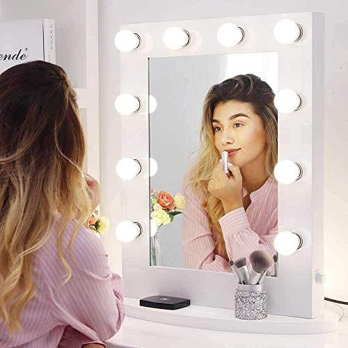Chende Hollywood Specchio Trucco Grande Professionale con Luci, Specchio Trucco da Parete LED per Camera da Letto, Toletta da Trucco Specchio per Teatro con 10 Luci a Dimmerabili (6550)