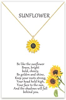 Tarsus Sunflower Daisy Necklace Girasol You are My Sunshine Hypoallergenic Stainless Steel Boho Jewelry Gifts for Bestfriend Women Girls Daughter