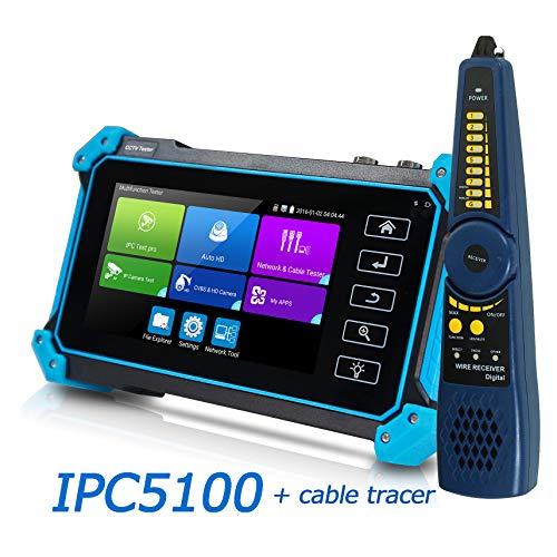IPC CCTV Tester Monitor 5' Pantalla Táctil 8MP AHD TVI CVI IP HDMI Entrada VGA Prueba Analógica POE DC12V Salida IPC5100 con Teclado/Detección IP/ONVIF/WiFi / APP