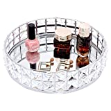VoiceFly Makeup Vanity Tray Glass Mirror Surface Crystal , Ornate Jewelry Trinket Tray Organizer, Sparkly Bling Decorative Makeup Tray Cosmetic Perfume Tray for Dresser Bathroom Home Decor Big (Silver)