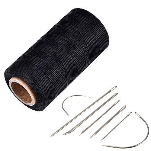 YCNK 260 Meter 1mm 150D Leder gewachst Wachs Thread Cord Handwerk für DIY Leder Hand Stitching Stitching (schwarz)