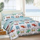 Sleepdown - Juego de cama con diseño de caravanas, tropical, reversible, poliéster algodón poliéster Poliéster. algodón Polialgodón., Varios Colores, suelto