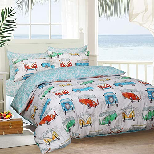 Sleepdown Reversible Printed Tropical Campervan Poly Cotton Duvet Quilt Cover Bedset, 3 Pcs - Double