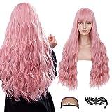 Peluca larga de color rosa para mujer con Air Bnags Pelucas de cabello ondulado rizado esponjoso para niña Peluca rosa Pelucas sintéticas de fiesta de cosplay de aspecto natural (28 pulgadas)