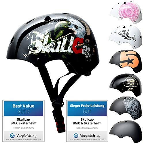SkullCap BMX & Casco per Skater Casco - Bicicletta & Monopattino Elettrico, Design: Eagle, Taglia: 58-61 cm