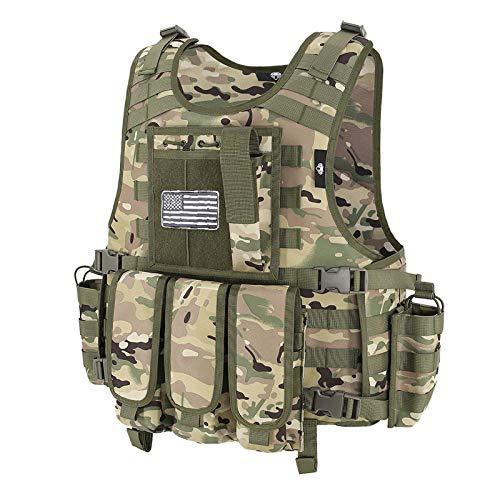 Snacam Tactical Vest Airsoft Painball Vest Outdoor Equipment for Men (Black)