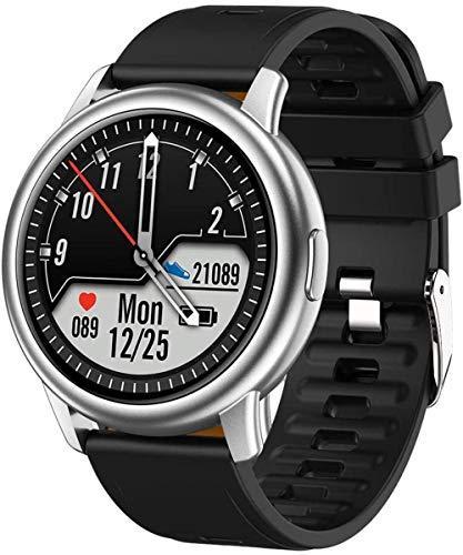 Reloj Inteligente Hombre IP68 Impermeable Hombres Reloj Deportivo Inteligente Fitness Tracker Reloj Fitness Pulsera BT5.0 Hombres s Relojes para Android IOS Correa de Silicona Negro-Plata