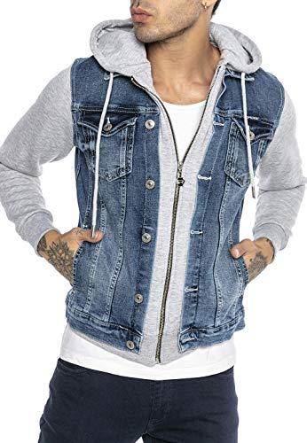Redbridge Giacca a jeans da Uomo con Cappuccio Giubbotto da mezza stagione Denim Blu/Grigio XL