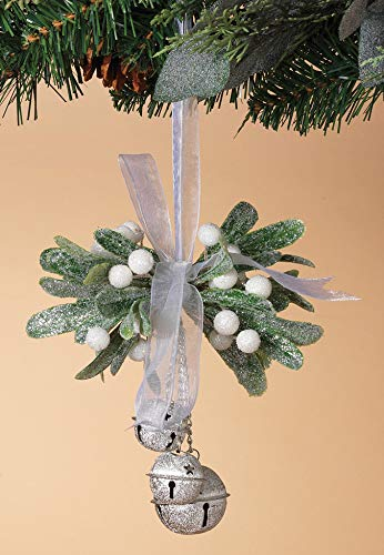 TenWaterloo Frosted Artificial Mistletoe Hanging Kissing Ball Ornament with Silver Sparkling Bells, 6 Inches High