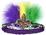 Myjoyday Mardi Gras Feather Headband Fleur Di Lis Headwear Sequin Headpiece for Women (Purple Yellow Green 2PCS)