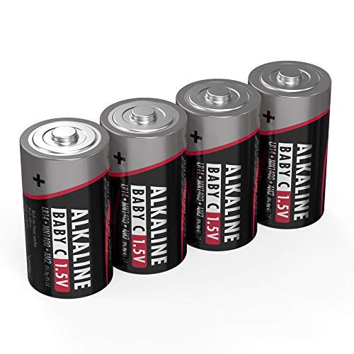 Ansmann Batterien Baby C LR14 4 Stück 1,5V - Alkaline Batterie langlebig & auslaufsicher - Ideal für Spielzeug, LED Taschenlampe, Radio, Modellbau uvm, 5015571