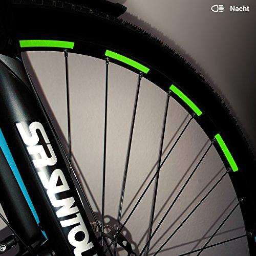 Motoking Fahrrad-Reflektorenaufkleber - Grün - 26 Aufkleber im Set - Breite: 7 mm - reflektierende Felgenaufkleber für Trekkingbike-, Fahrradfelgen & mehr