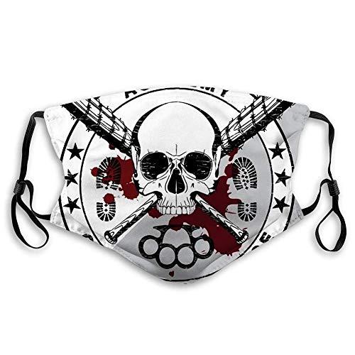 YYTT8 Face Shield Mouth Scraf Skull und Zwei gekreuzte Baseballschläger mit Stacheldraht-Schlagring mit Filter