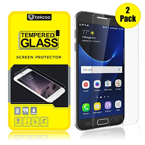 [2-Pack] Tekcoo Compatible for Samsung Galaxy S7 Screen Protector, [Tempered Glass] Ultra 0.26mm Thin HD Clear Premium Anti-Scratch Screen Protector Cover Replacement for Samsung Galaxy S7 S VII G930