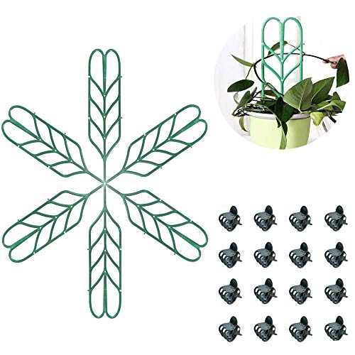 XUTONG Leaf shaped potted plant support,DIY Garden Trellis for Mini Climbing Plants, 6 Leaf Shape Plant Supports, 16 Pcs Plant Orchid Clips for Ivy Roses Cucumbers Clematis Pots Supports