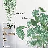 VASZOLA DIY Ginkgo Blätter Groß Wandtattoo Wandaufkleber Tropischer Pflanzen Grüne Pflanze Blätter Wandsticker Wanddeko für Wohnzimmer Schlafzimmer Flur Kühlschrank