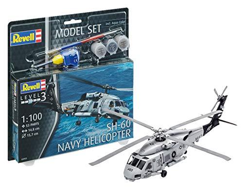 Revell 64955–Maqueta de helicóptero 64955Set 1: 100–SH de 60Marina Helicopter en Escala 1: 100Niveles, 3, orgin Algas fidelidad imitación con Muchos Detalles, helicóptero de