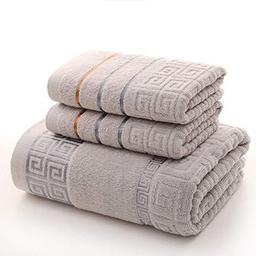 LIGUANGWEN 3 Unids/Lote Toallas De Baño De Algodón Suave 2 Toallas De Cara Baño Súper Absorbente Hojas De Tela Regalos para Adultos 2 Colores Pareja Toallas (Color : Light Grey)